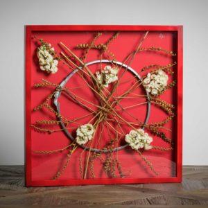 ortensie in rosso- materiali ortensie, chiusura in metallo di latta di pittura - 50x50 cm
