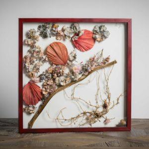 Ventagli in sfumatura- materiali: stelo di costa(verdura), ortensie, radici, lumache, ventagli di carta - 50x50 cm