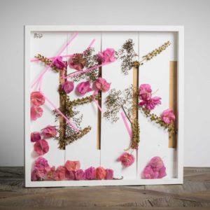 Grate colorate- materiali: fiore di fitolacca, di sambuco, di bouganville di siviglia, cannucce di plastica, cartoncini bianchi, lumaca - 50x50 cm