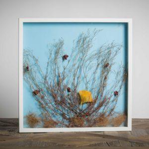Fiori di mare - materiali: foglia di ginko biloba, flora spontanea, paglia colorata - 50x50 cm