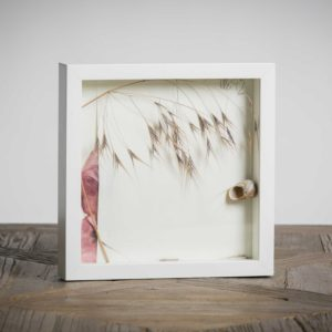 venduto Serie zen2 - Materiali: cartoncino bianco, fiori di papaveri, flora spontanea, guscio di lumaca - 25x25 cm