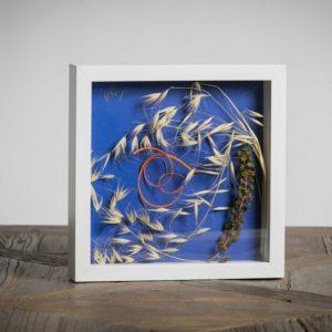 senza titolo (collezione privata) - materiali: steli colorati, flora spontanea, fiori di fitolacca - 25x25 cm